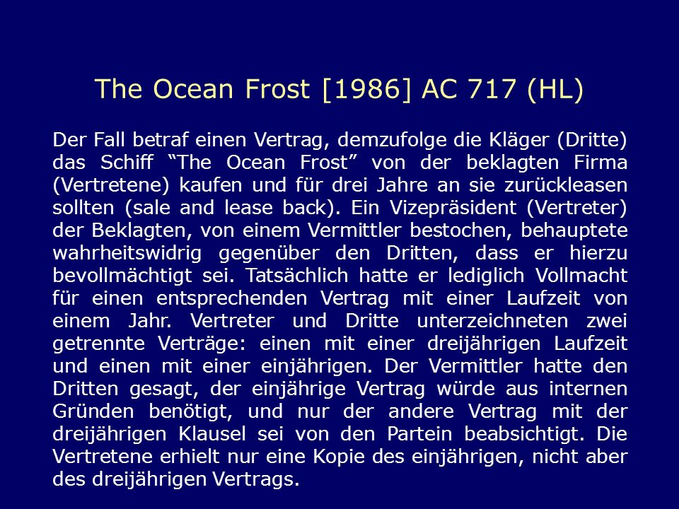 The Ocean Frost [1986] AC 717 (HL)